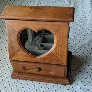 Small wooden counter top jewelry box with 1 drawer